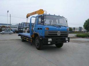 东风153平板带吊运输车(国四)