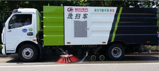 洗扫车创新产品——东风多利卡单动机发洗扫车亮相程力