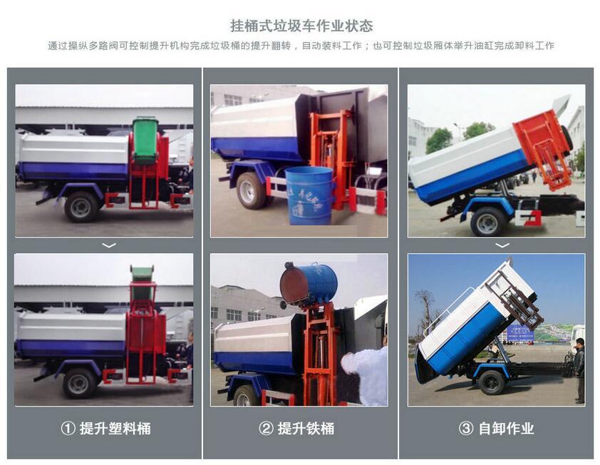 挂桶式垃圾车作业状态