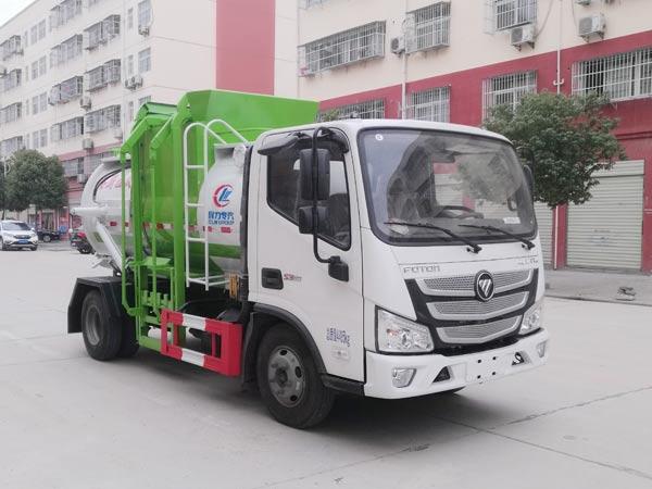 福田欧马可国六蓝牌餐厨垃圾车