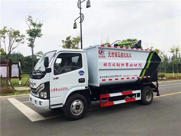 东风多利卡无泄漏自装卸式压缩垃圾车(7方)